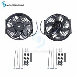 2x Universal 10 Inch Radiator Condenser Cooling Fan Assembly Black