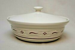 Longaberger Pottery Woven Traditions Traditional Red 1 Quart Covered Casserole