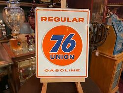 18 Embossed Porcelain Union 76 Gas Pump Plate Sign Watch Video