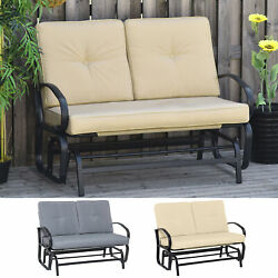 Outdoor Garden 2-person Gliding Chair Patio Glider With Cushions Steel