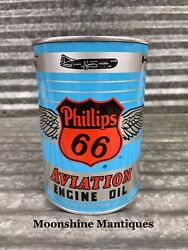 1950andrsquos Phillips 66 Aviation 1 Quart Motor Oil Can - Gas And Oil