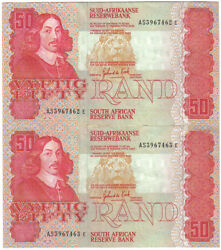 South Africa 2 X 50 Rand 1984 Pick 122 A Consecutive Pair Unc-