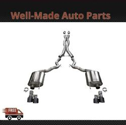 Corsa 304 Ss Cat-back Exhaust System W/quad Rear Exit For 18-20 Mustang 21047blk