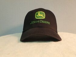 John Deere Black Bump Cap Embroidered Letters And Logo