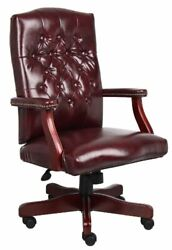 Boss Office Products Classic Executive Caressoft Chair With Mahogany Finish I...