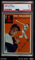 1954 Topps 1 Ted Williams White Back Red Sox Psa 5 - Ex