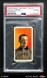 1909 T206 Orval Overall Portrait Cubs Psa 2 - Good