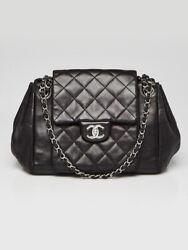 Black Quilted Lambskin Leather Accordion Flap Bag