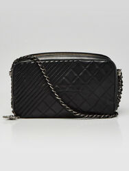 Black Quilted Lambskin Leather Coco Boy Large Camera Case Bag