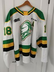Liam Foudy Columbus Blue Jackets London Knights Game-worn Jersey