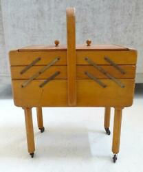 Vtg 1930s Tiered Wood Sewing Chest Cabinet Box Wheeled Legs Accordion Expandable