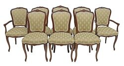 Set 8 Antique Walnut French Dining Chairs Upholstered Seat And Back Carved Crest