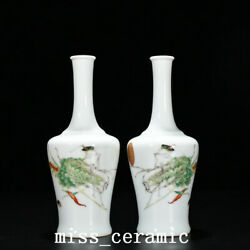 9.2 Qing Dynasty Porcelain Yongzheng A Pair Colour Enamels Chinese Cabbage Vase