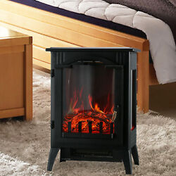 750/1500w Electric Heater Fireplace Adjust Free Standing Wood Fire Flame Stove