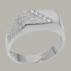 18ct White Gold Cubic Zirconia Mens Band Ring - Sizes N To Z