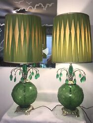 Vintage Mid Century Modern Table Lamps Raised Glass Globes Retro Waterfall Prism