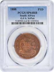 1888 South Africa - Orange Free State Penny Sp64rb Pcgs