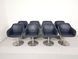 Stunning Set Of 8 Walter Knoll Turtle Lounge Swivel Chairs In Navy Blue Leather