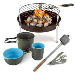 Camp Hiking Cooking Cookware Outdoor Fishing Set With Bag Of Charcoal