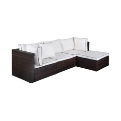 Tazz 4-piece Rattan Outdoor Sectional With Cushions And Throw Pillow With Brown/