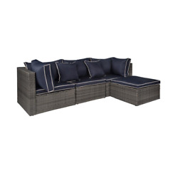 Tazz 4-piece Rattan Outdoor Sectional With Cushions And Throw Pillow With Gray/n