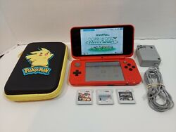 Nintendo 2ds Xl Pokemon Pokeball Edition With Case Oem Charger Stylus 3 Games