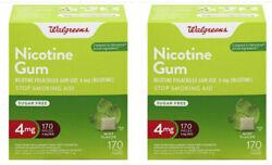 Lot Of 2 Walgreens Nicotine Gum 4mg 170pc Mint 340pieces Total Brand New