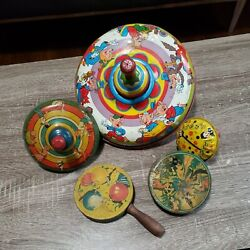 Lot Of 5 Vintage 1960's Tin Toys 2 Spinning And 3 Rattles Collectibles Looook