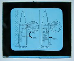 Two Vintage Magic Lantern Glass Slides- Saturn Rocket Nasa C3 Integration
