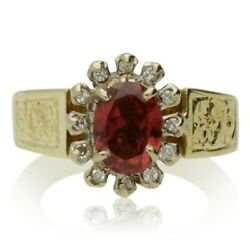 Vintage 18ct Gold Garnet And Diamond Cluster Ring - 1978
