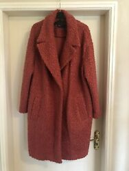 Womens Marks And Spencer Salmon Red Knee Length Boucle Style Coat Jacket