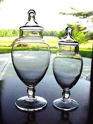 2 Vintage Tear Drop Footed Art Glass Drug Store Show Globe Apothecary Candy Jars