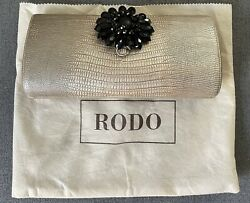 RODO Italy Brushed Gold Clutch Shoulder Bag Chain With Black Crystal Flower $39.99