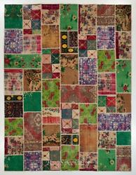 Handmade Patchwork Rug Made From Vintage Turkish Village Carpets
