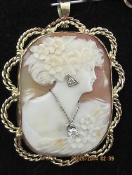 Antique Yellow 14k Gold Shell Cameo And Diamond Pendant Pin Brooch