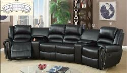 Motion Sectional Sofa Extra Cushioned Center Console Black Bonded Leather Glider