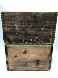 2 Rare Remington Dupont Peters Victor Wooden Ammo Crate Box - Small Arms