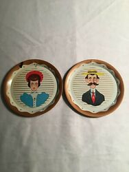 Vintage 5 Tin Litho Metal Plate Man And Woman Portrait Fun For Gallery Wall Art