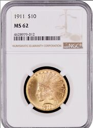 1911 10 Gold Indian Head Eagle Ngc Ms 62