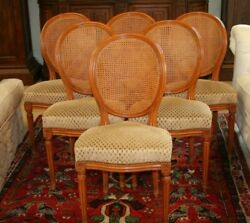 Set Of 6 Antique French Louis Xvi Dining Chairs Caned Back And Seat Carved Crest