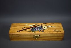 Vintage French Antique Painted Wood Pencil Box 1900