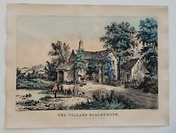 Currier And Ives Lithograph- The Village Blacksmith. N. Currier - Fanny Palmer