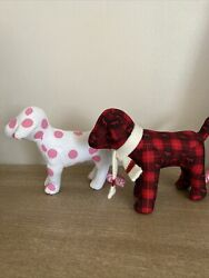 Victoria Secret Collectible Mini Dogs 2 Polka Dot and Holiday
