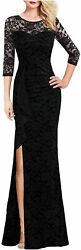 VFSHOW Womens Ruched Ruffles Embroidered Formal Evening Black Size XX Large $10.00