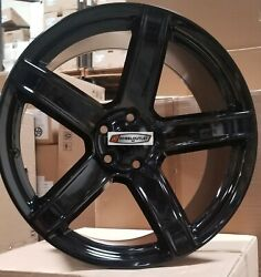 22 Hellcat Hc2 Style Wheels Black Staggered Rims Tires Fit Dodge Challenger Rwd
