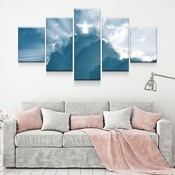 Jesus In The Clouds Christian Poster 5 Panel Canvas Print Wall Art Home Decor