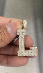 10k Solid Yellow Gold And Si Diamond 1.625 Ct Block Initial L Pendant Charm