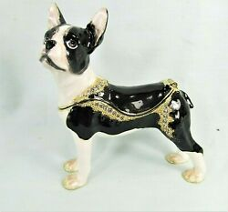Boston terrier jeweled pewter trinket box collectible home decor pet