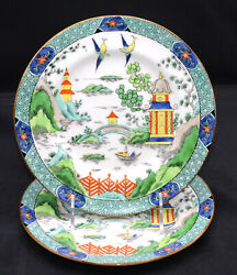 Crown Staffordshire And Co 2 Salad Plates Ye Olde Willow 8 1/8 Exc