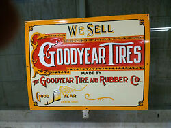 Goodyear Tires Large Heavy Porcelain Advertising Sign 30x 23 Near Mint